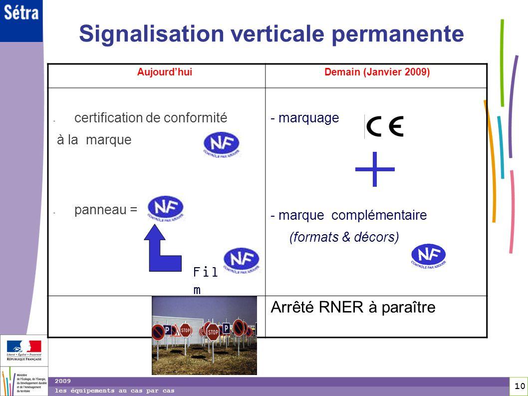 10 10 2009 les équipements au cas par cas Signalisation verticale permanente Aujourdhui Demain (Janvier 2009) - certification de conformité à la marqu