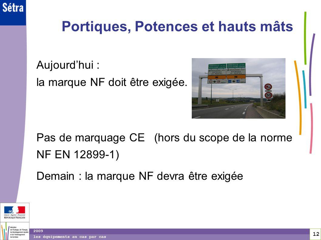 12 12 2009 les équipements au cas par cas Portiques, Potences et hauts mâts Aujourdhui : la marque NF doit être exigée. Pas de marquage CE (hors du sc