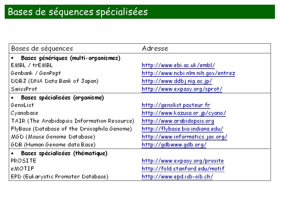 Bases de séquences spécialisées