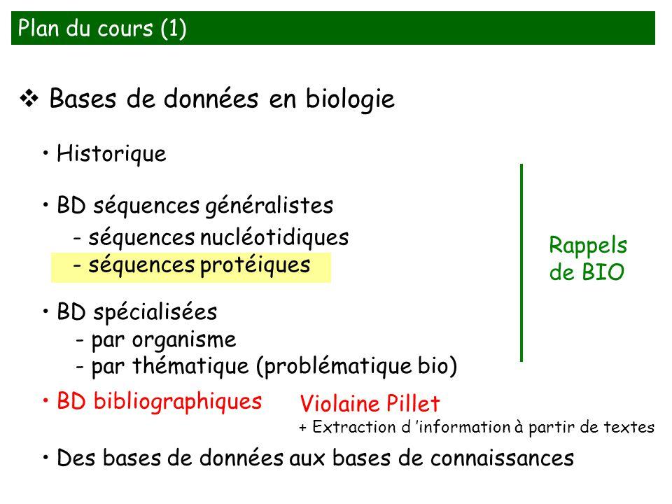 Bases de données en biologie BD séquences généralistes - séquences nucléotidiques - séquences protéiques BD bibliographiques Historique Plan du cours