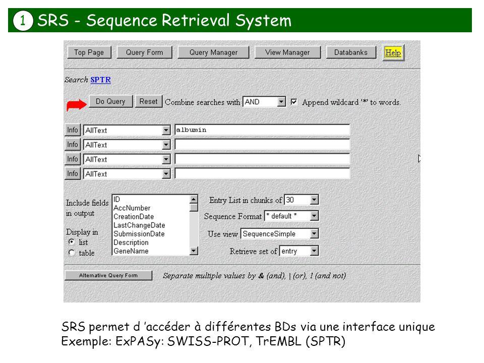 SRS permet d accéder à différentes BDs via une interface unique Exemple: ExPASy: SWISS-PROT, TrEMBL (SPTR) SRS - Sequence Retrieval System 1