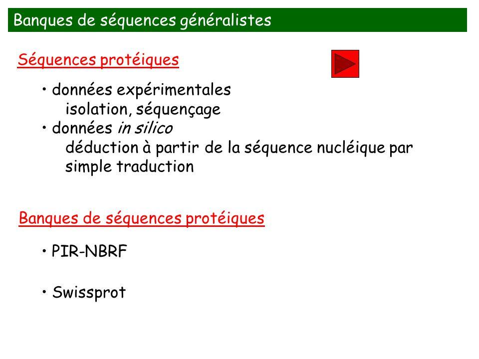 Banques de séquences généralistes PIR-NBRF Banques de séquences protéiques données expérimentales isolation, séquençage données in silico déduction à partir de la séquence nucléique par simple traduction Séquences protéiques Swissprot