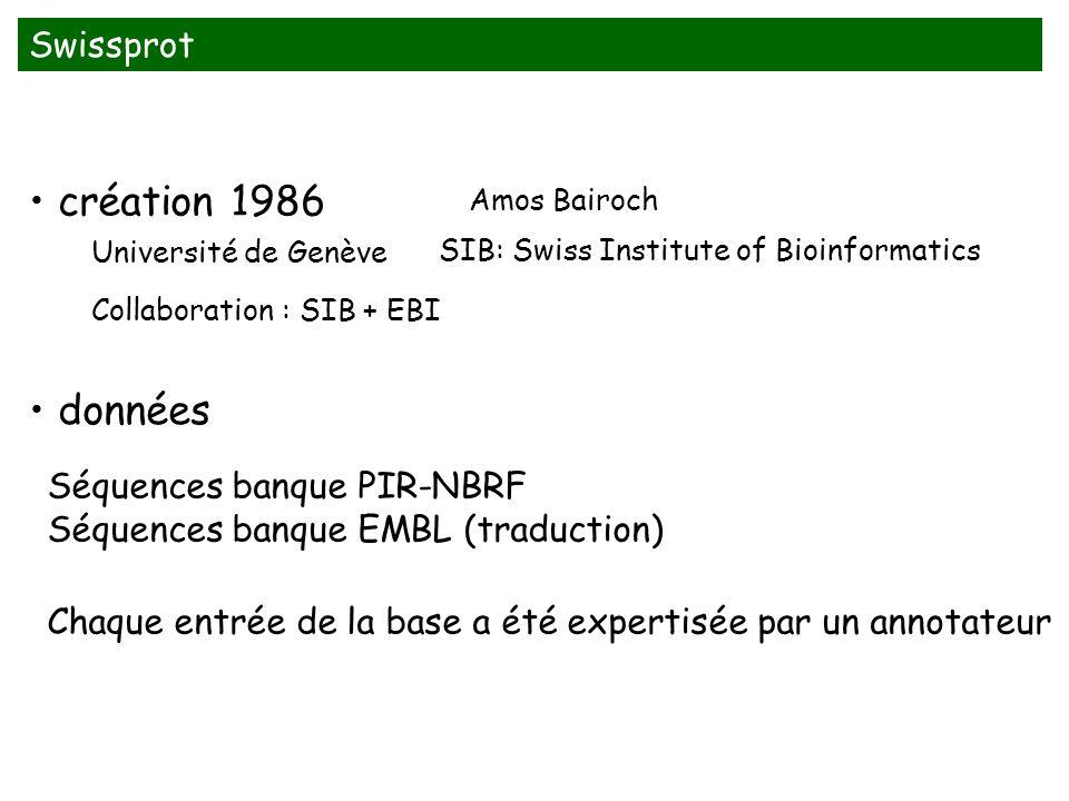 Swissprot création 1986 données Université de Genève Séquences banque PIR-NBRF Séquences banque EMBL (traduction) Chaque entrée de la base a été expertisée par un annotateur Amos Bairoch SIB: Swiss Institute of Bioinformatics Collaboration : SIB + EBI