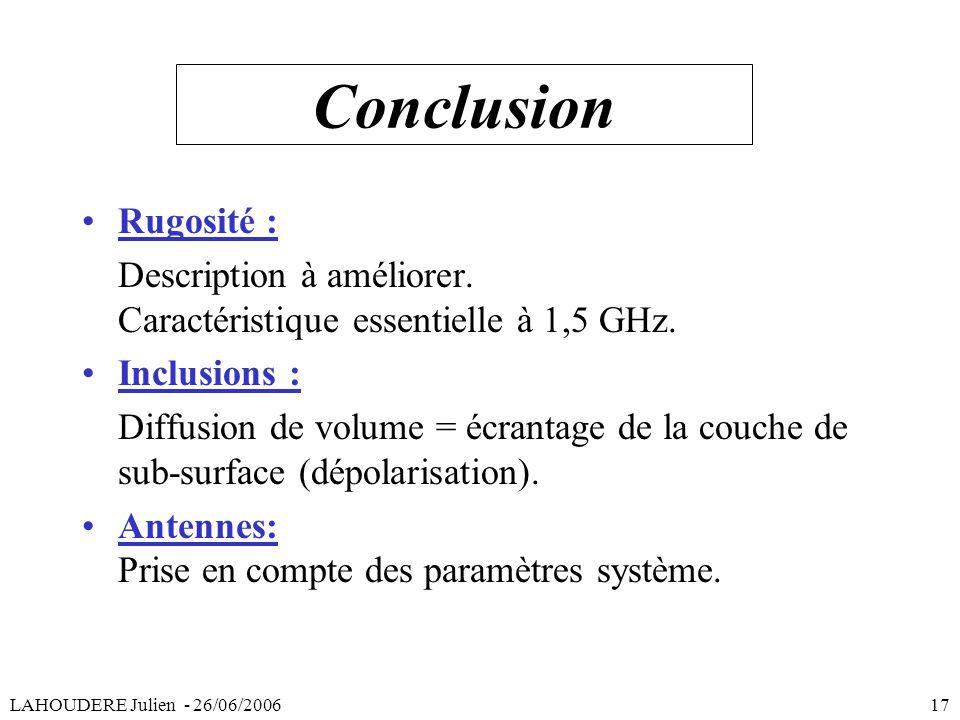 Conclusion Rugosité : Description à améliorer. Caractéristique essentielle à 1,5 GHz. Inclusions : Diffusion de volume = écrantage de la couche de sub