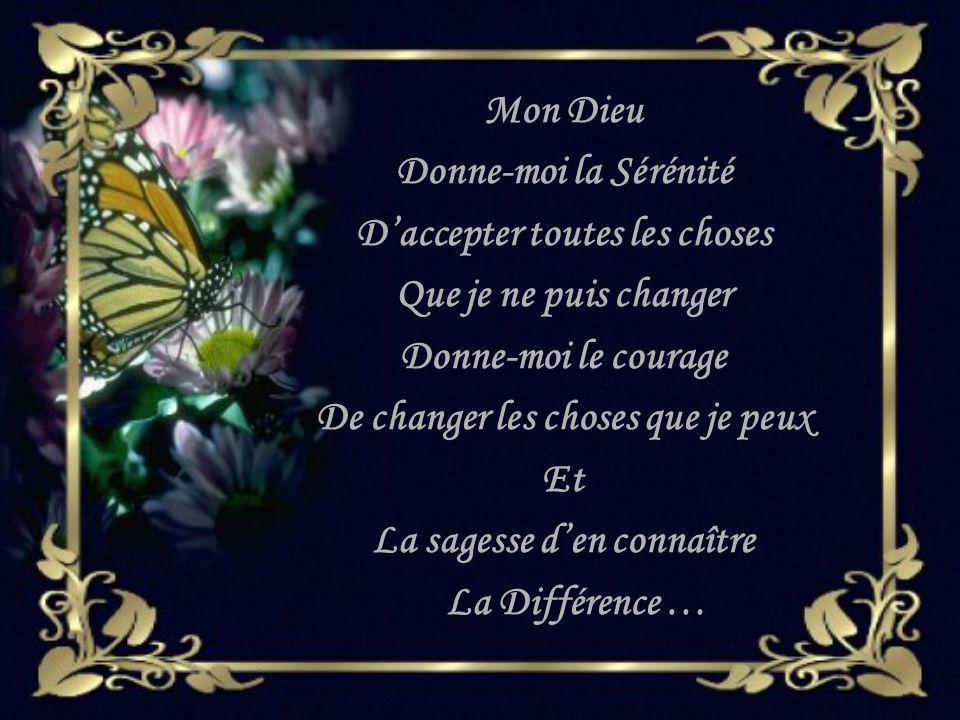 Mon Dieu Donne-moi la Sérénité Daccepter toutes les choses Que je ne puis changer Donne-moi le courage De changer les choses que je peux Et La sagesse den connaître La Différence …