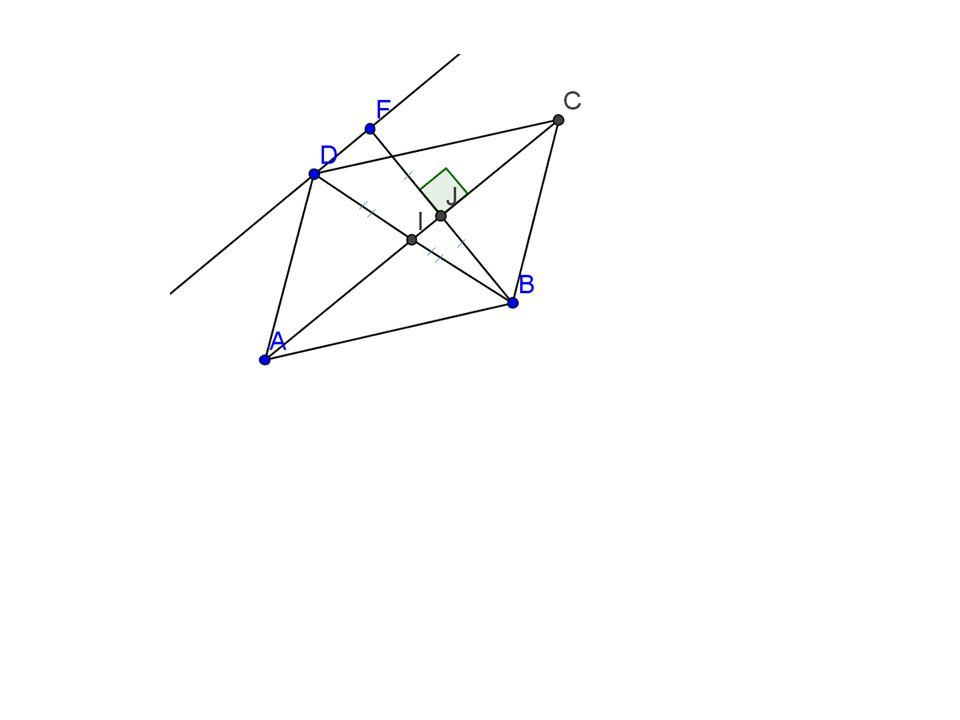 Je sais que Nommons J le point dintersection de (AC) et (BF) Dans le triangle BDF -F symétrique de B par rapport à (AC) et J point dintersection de (AC) et (BF) donc J milieu de [BF] - D symétrique de B par rapport à I donc I milieu de [BD] Or Si une droite passe par les milieux de 2 cotés dun triangle alors elle est parallèle au troisième coté Donc (IJ) // (DF) I et J appartiennent à la droite (AC) donc (AC) // (DF)