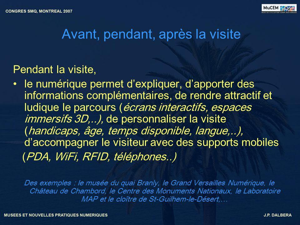 Avant, pendant, après la visite Pendant la visite, le numérique permet dexpliquer, dapporter des informations complémentaires, de rendre attractif et