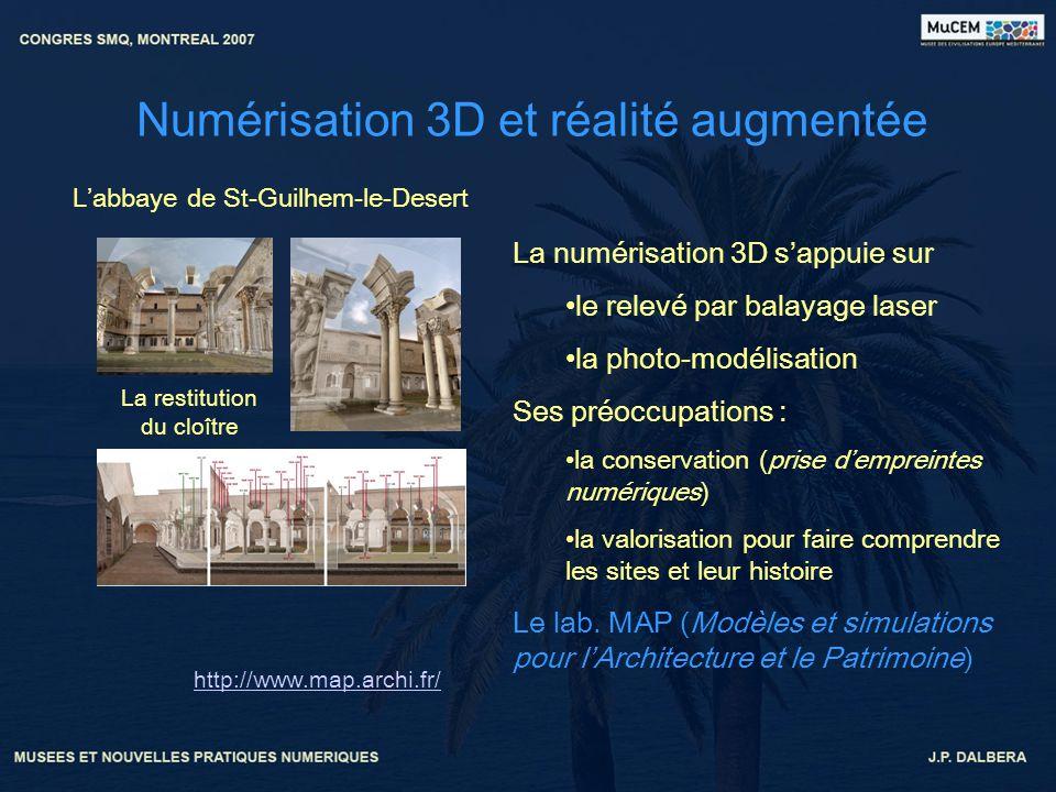 Numérisation 3D et réalité augmentée http://www.map.archi.fr/ La numérisation 3D sappuie sur le relevé par balayage laser la photo-modélisation Ses pr