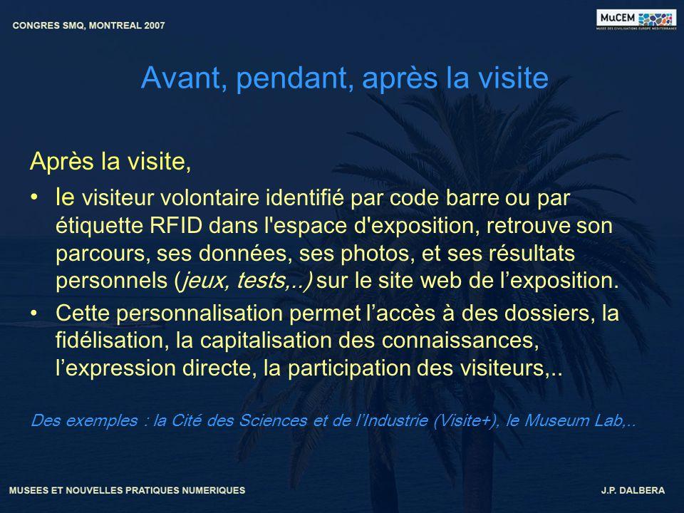 Avant, pendant, après la visite Après la visite, le visiteur volontaire identifié par code barre ou par étiquette RFID dans l'espace d'exposition, ret