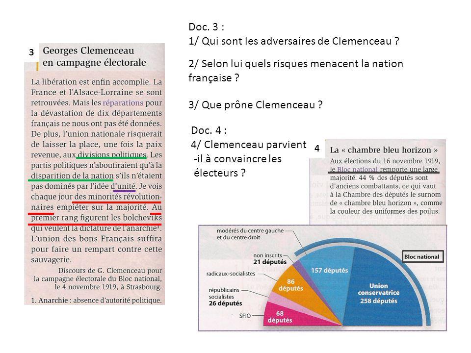Doc. 3 : 1/ Qui sont les adversaires de Clemenceau ? 2/ Selon lui quels risques menacent la nation française ? 3/ Que prône Clemenceau ? 3 4 Doc. 4 :