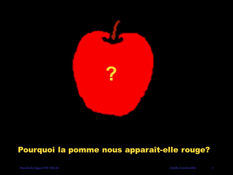 Paul-Émile Séguin FPE 7650-60UQAM, Octobre 20043 Pourquoi la pomme nous apparaît-elle rouge? ?