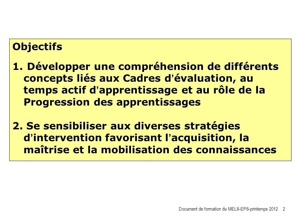 Objectifs 1. Développer une compréhension de différents concepts liés aux Cadres d évaluation, au temps actif d apprentissage et au rôle de la Progres