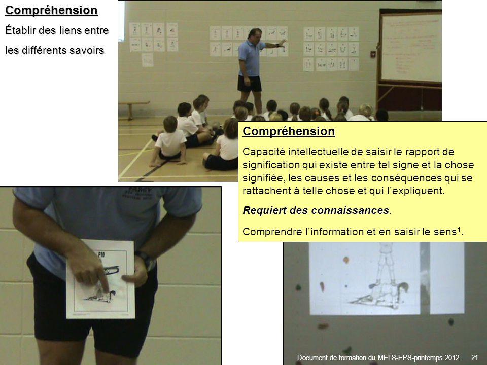 Compréhension Établir des liens entre les différents savoirs Document de formation du MELS-EPS-printemps 2012 21 Compréhension Capacité intellectuelle