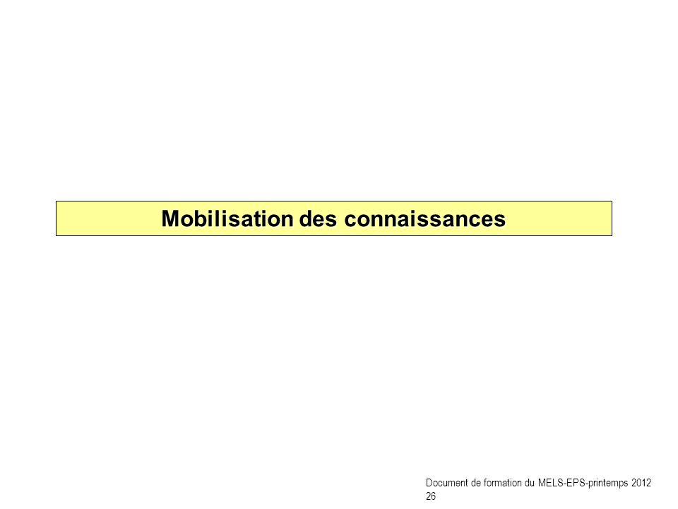 Mobilisation des connaissances Document de formation du MELS-EPS-printemps 2012 26