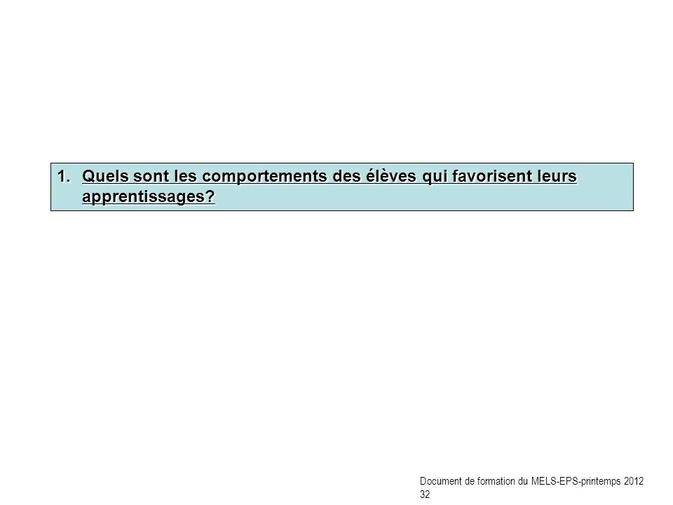 1.Quels sont les comportements des élèves qui favorisent leurs apprentissages? Document de formation du MELS-EPS-printemps 2012 32
