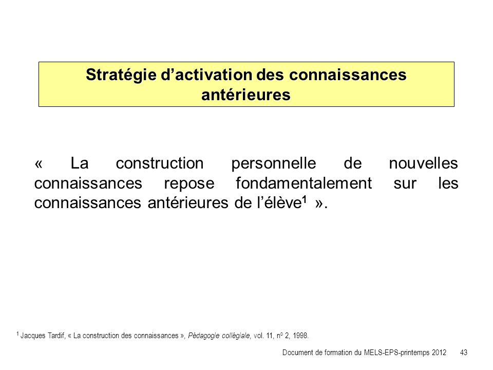 Stratégie dactivation des connaissances antérieures « La construction personnelle de nouvelles connaissances repose fondamentalement sur les connaissa