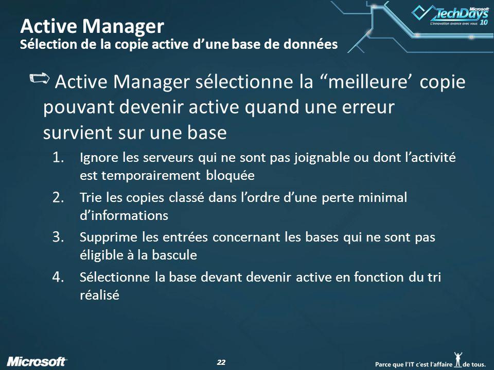 22 Active Manager Sélection de la copie active dune base de données Active Manager sélectionne la meilleure copie pouvant devenir active quand une erreur survient sur une base 1.