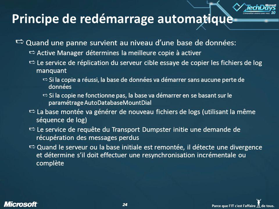 24 Principe de redémarrage automatique Quand une panne survient au niveau dune base de données: Active Manager détermines la meilleure copie à activer Le service de réplication du serveur cible essaye de copier les fichiers de log manquant Si la copie a réussi, la base de données va démarrer sans aucune perte de données Si la copie ne fonctionne pas, la base va démarrer en se basant sur le paramétrage AutoDatabaseMountDial La base montée va générer de nouveau fichiers de logs (utilisant la même séquence de log) Le service de requête du Transport Dumpster initie une demande de récupération des messages perdus Quand le serveur ou la base initiale est remontée, il détecte une divergence et détermine sil doit effectuer une resynchronisation incrémentale ou complète