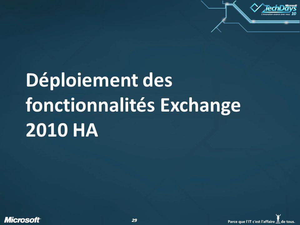 29 Déploiement des fonctionnalités Exchange 2010 HA