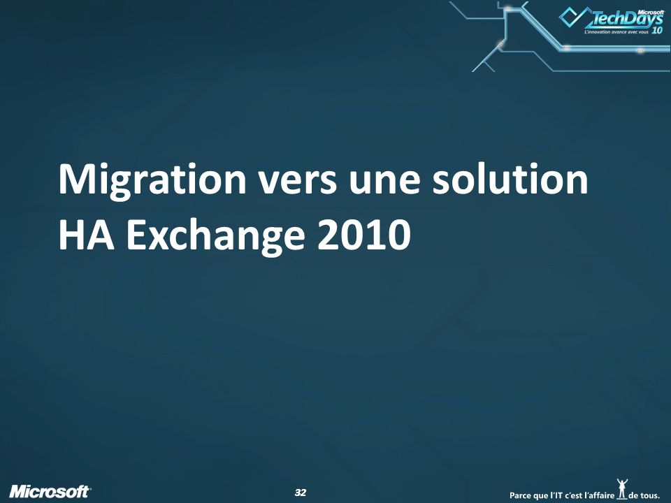 32 Migration vers une solution HA Exchange 2010