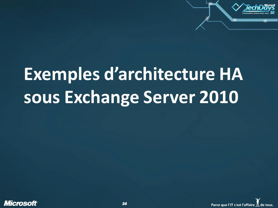 34 Exemples darchitecture HA sous Exchange Server 2010
