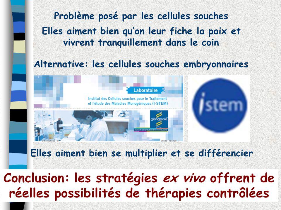 Problème posé par les cellules souches Elles aiment bien quon leur fiche la paix et vivrent tranquillement dans le coin Alternative: les cellules souc