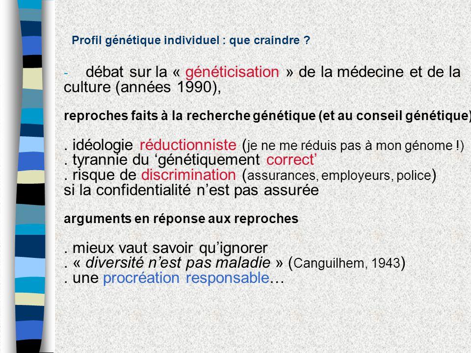 Profil génétique individuel : que craindre ? - débat sur la « généticisation » de la médecine et de la culture (années 1990), reproches faits à la rec