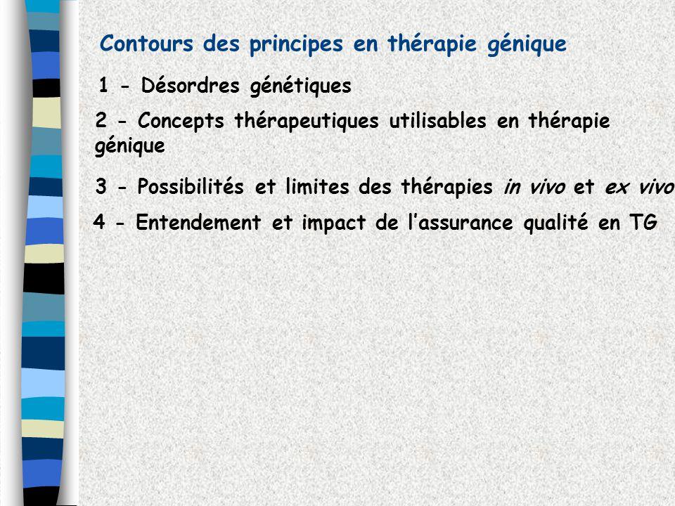 Contours des principes en thérapie génique 1 - Désordres génétiques 3 - Possibilités et limites des thérapies in vivo et ex vivo 2 - Concepts thérapeu