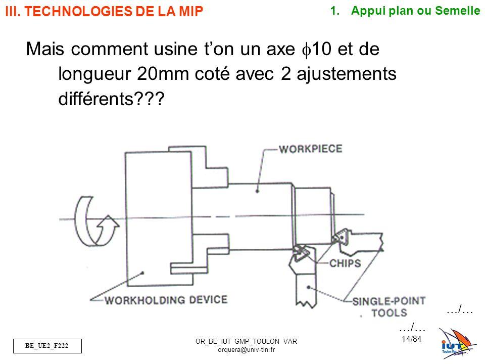 BE_UE2_F222 OR_BE_IUT GMP_TOULON VAR orquera@univ-tln.fr 14/84 Mais comment usine ton un axe f10 et de longueur 20mm coté avec 2 ajustements différent