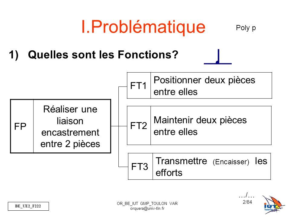 BE_UE2_F222 OR_BE_IUT GMP_TOULON VAR orquera@univ-tln.fr 2/84 FP Réaliser une liaison encastrement entre 2 pièces FT1 Positionner deux pièces entre el