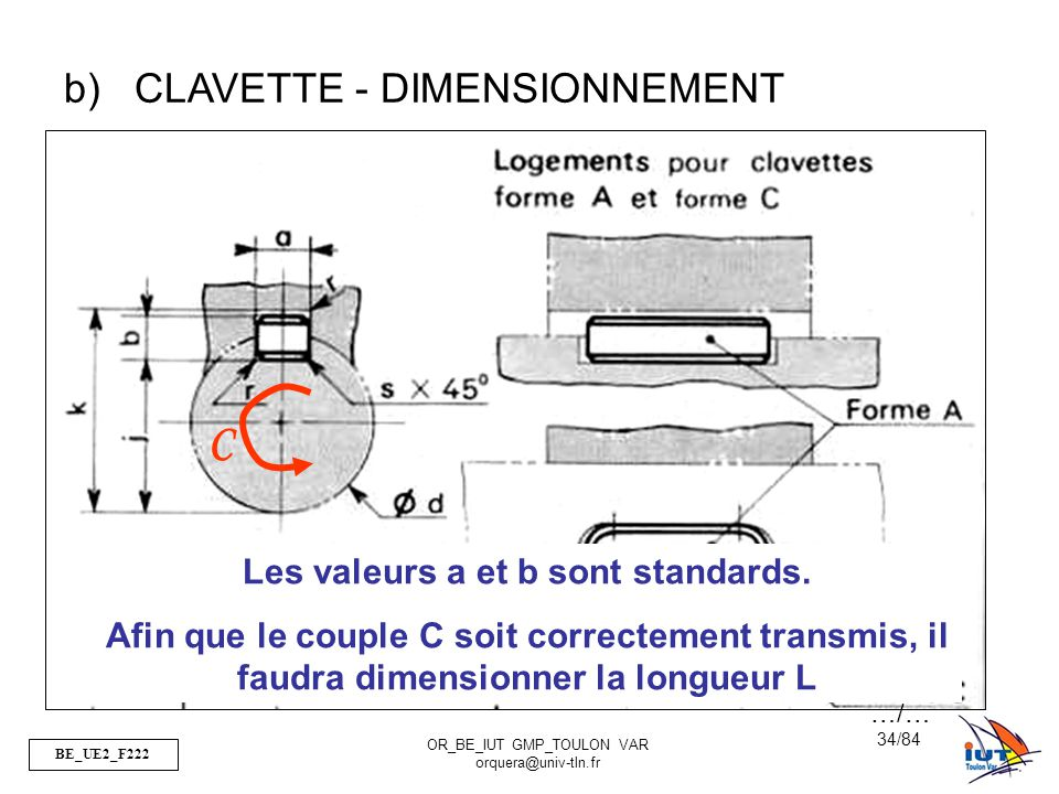 BE_UE2_F222 OR_BE_IUT GMP_TOULON VAR orquera@univ-tln.fr 34/84 b)CLAVETTE - DIMENSIONNEMENT C Les valeurs a et b sont standards. Afin que le couple C