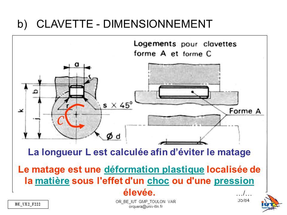 BE_UE2_F222 OR_BE_IUT GMP_TOULON VAR orquera@univ-tln.fr 35/84 b)CLAVETTE - DIMENSIONNEMENT C La longueur L est calculée afin déviter le matage Le mat