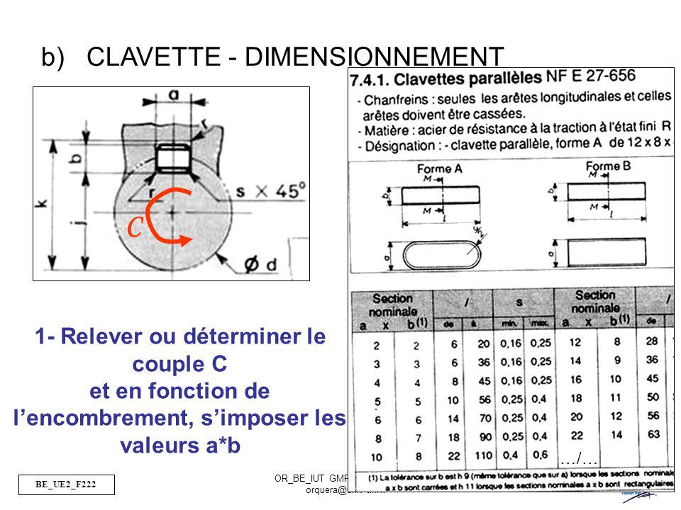 BE_UE2_F222 OR_BE_IUT GMP_TOULON VAR orquera@univ-tln.fr 37/84 b)CLAVETTE - DIMENSIONNEMENT C 1- Relever ou déterminer le couple C et en fonction de l
