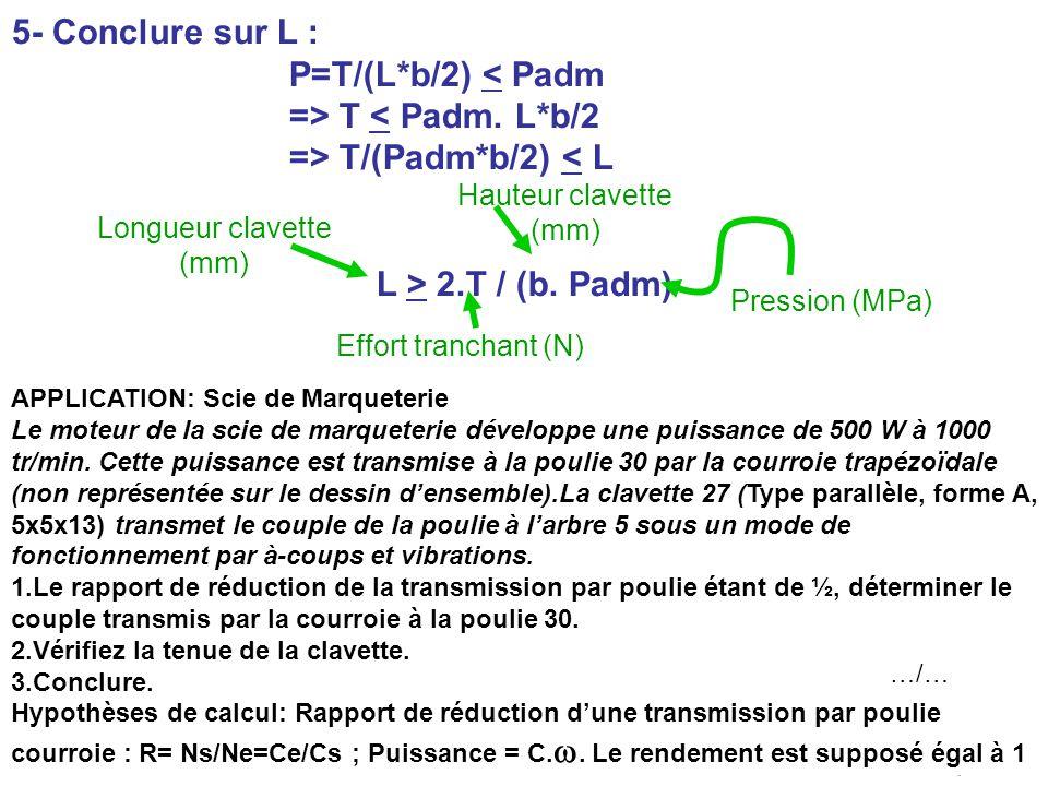 BE_UE2_F222 OR_BE_IUT GMP_TOULON VAR orquera@univ-tln.fr 41/84 5- Conclure sur L : P=T/(L*b/2) < Padm => T < Padm. L*b/2 => T/(Padm*b/2) < L L > 2.T /