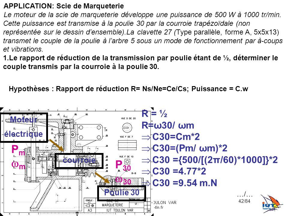 BE_UE2_F222 OR_BE_IUT GMP_TOULON VAR orquera@univ-tln.fr 42/84 APPLICATION: Scie de Marqueterie Le moteur de la scie de marqueterie développe une puis
