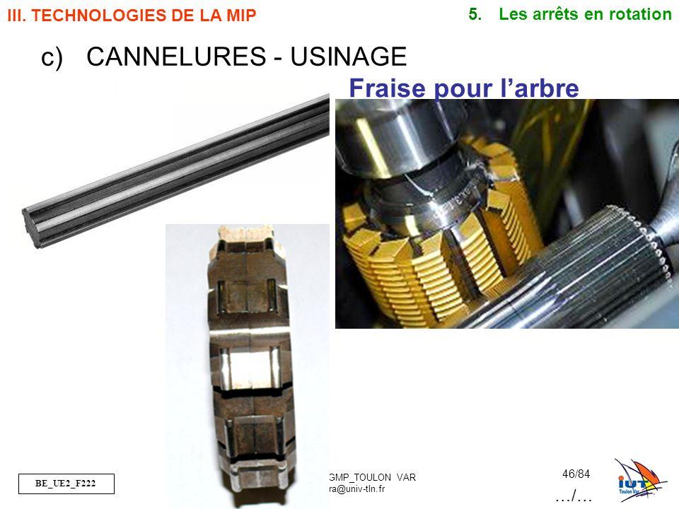 BE_UE2_F222 OR_BE_IUT GMP_TOULON VAR orquera@univ-tln.fr 46/84 Fraise pour larbre III. TECHNOLOGIES DE LA MIP 5. Les arrêts en rotation c)CANNELURES -