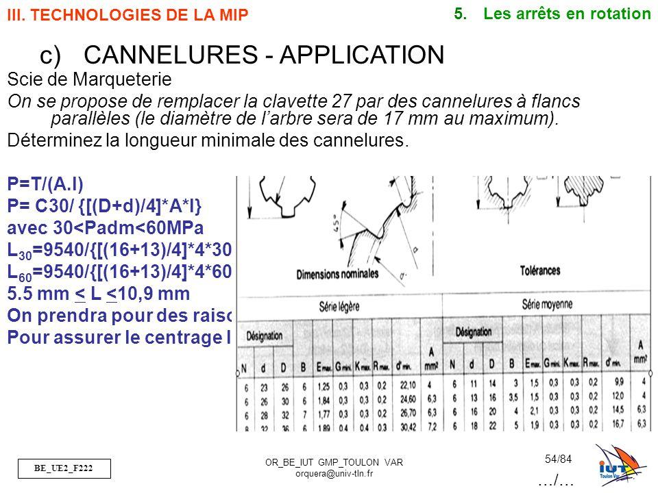 BE_UE2_F222 OR_BE_IUT GMP_TOULON VAR orquera@univ-tln.fr 54/84 Scie de Marqueterie On se propose de remplacer la clavette 27 par des cannelures à flan