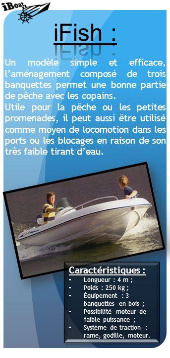 Un modèle simple et efficace, laménagement composé de trois banquettes permet une bonne partie de pêche avec les copains.