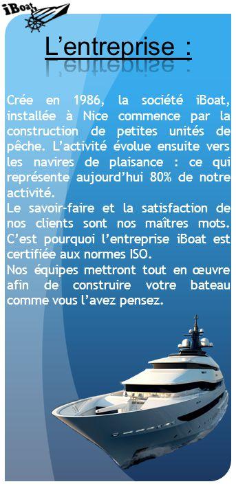 Crée en 1986, la société iBoat, installée à Nice commence par la construction de petites unités de pêche.