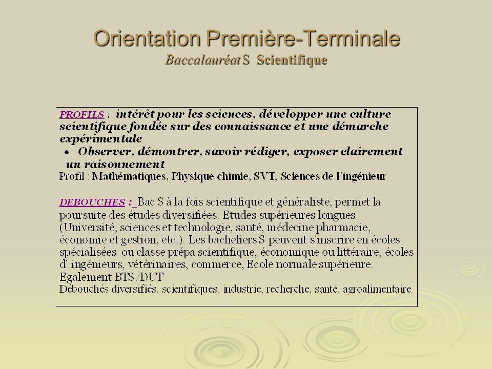 Orientation Première-Terminale Baccalauréat S Scientifique