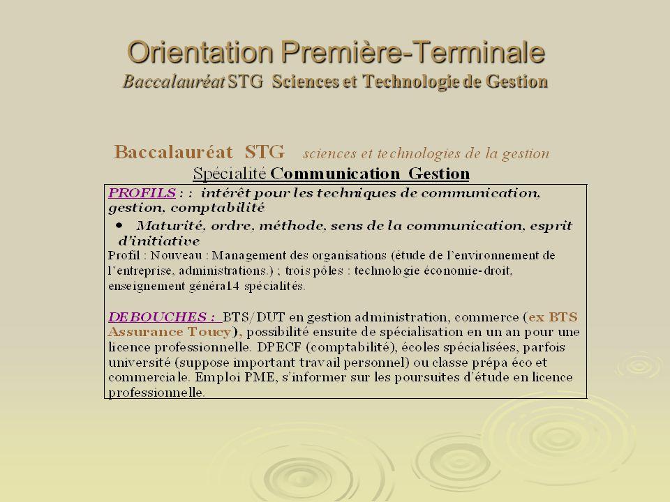 Orientation Première-Terminale Baccalauréat STG Sciences et Technologie de Gestion