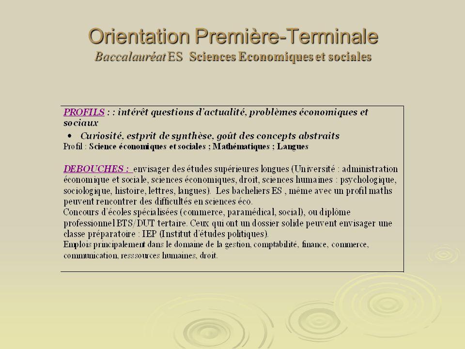 Orientation Première-Terminale Baccalauréat ES Sciences Economiques et sociales