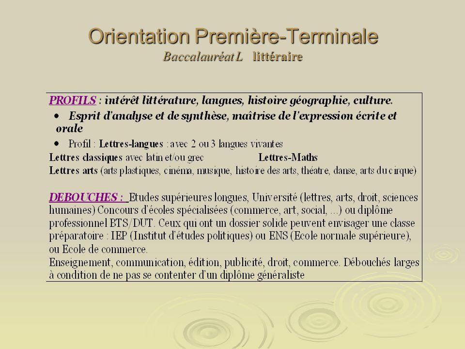 Orientation Première-Terminale Baccalauréat L littéraire