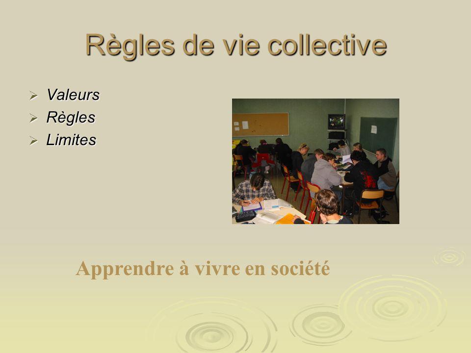 Règles de vie collective Valeurs Règles Limites Apprendre à vivre en société