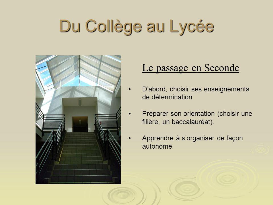 Du Collège au Lycée Le passage en Seconde Dabord, choisir ses enseignements de détermination Préparer son orientation (choisir une filière, un baccalauréat).