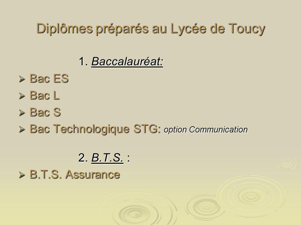 Diplômes préparés au Lycée de Toucy 1. Baccalauréat: 1.