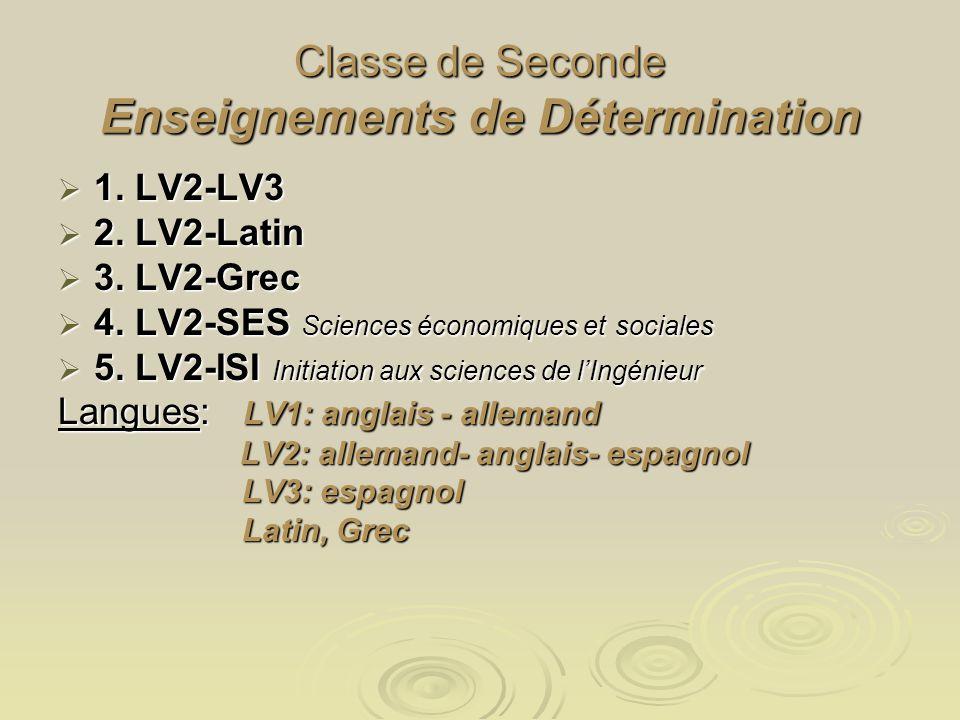 Classe de Seconde Enseignements de Détermination 1. LV2-LV3 2. LV2-Latin 3. LV2-Grec 4. LV2-SES Sciences économiques et sociales 5. LV2-ISI Initiation