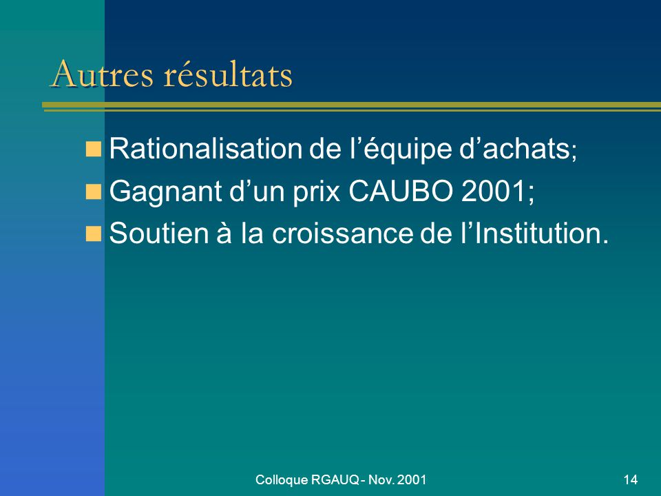 Colloque RGAUQ - Nov.