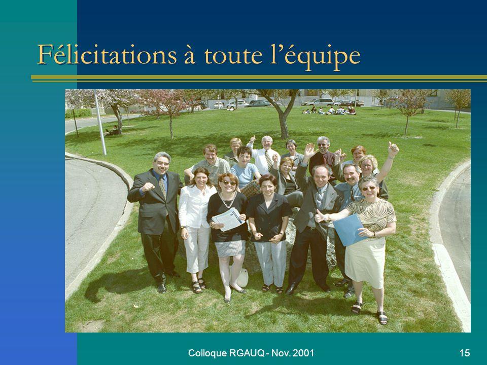 Colloque RGAUQ - Nov. 200115 Félicitations à toute léquipe