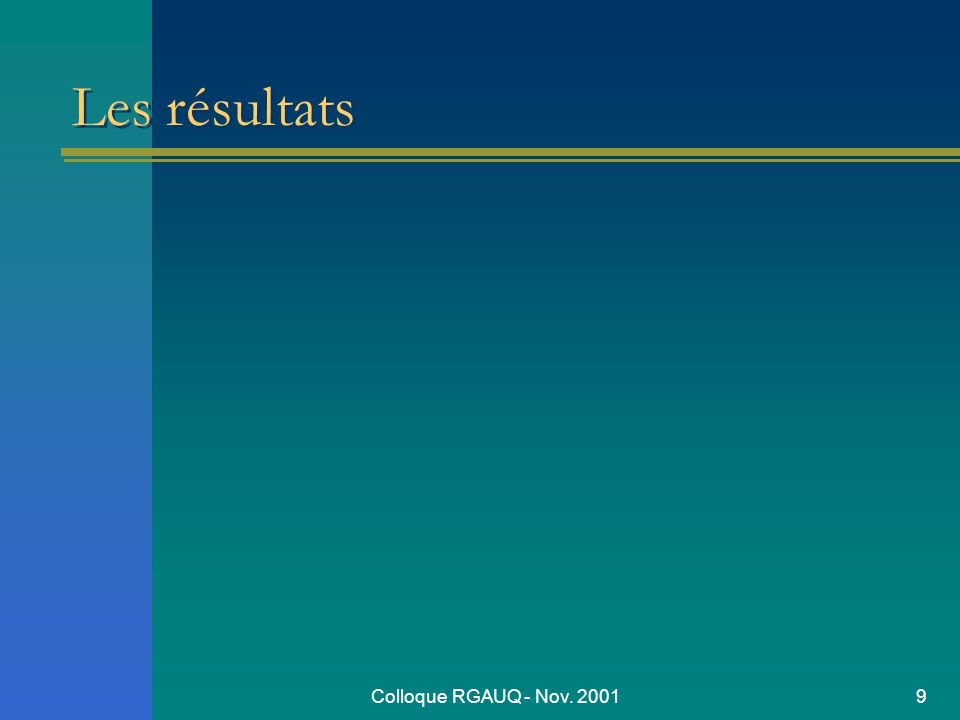 Colloque RGAUQ - Nov. 20019 Les résultats
